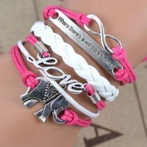 Love infinity Elephant Charm wrap Braided bracelet